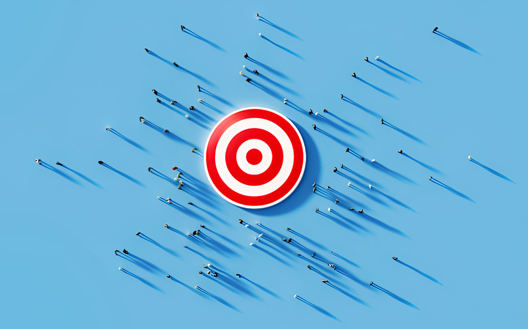 Human crowd gathering around a red bulls eye on blue background. Horizontal composition with copy space. Clipping path is included. Marketing and target audience concept (Human crowd gathering around a red bulls eye on blue background. Horizontal comp